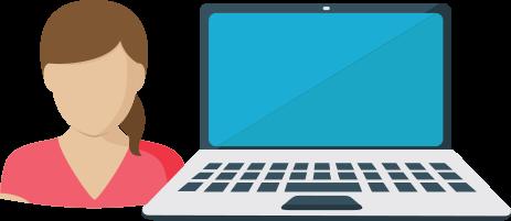 woman next to laptop